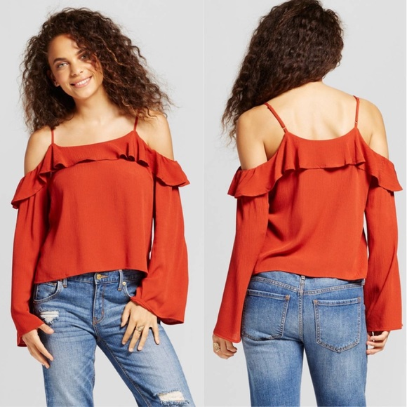 993364a7e8953 Women s Cold Shoulder Top Rust - Mossimo Supply Co
